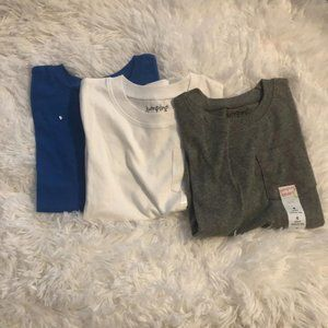 Gray, white and blue pocket t's